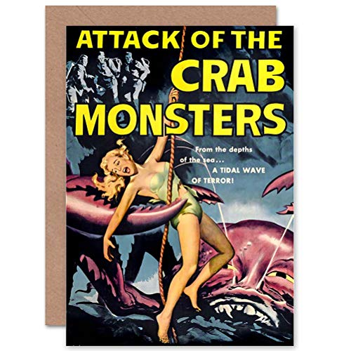 Wee Blue Coo Movie Film Attack Crab Monsters SCI FI Monster Horror Greetings Card -