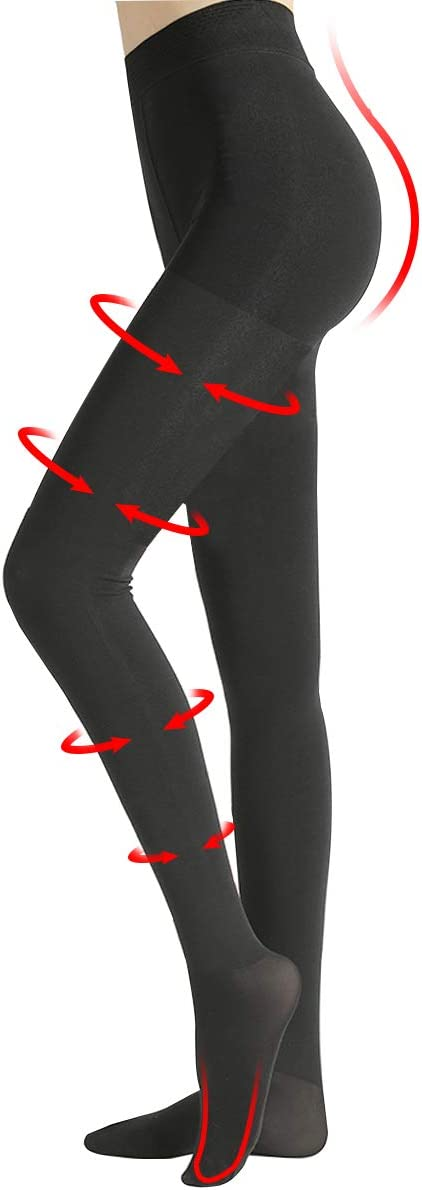 Compression Pantyhose Women 20-30mmHg Nursing Graduated Compression Tights Closed Toe Support Stockings Pantyhose for Relieve Varicose Veins, Swelling, Edema (Black, XXL)