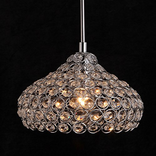 Modern Crystal Drum Chandelier, Motent Vintage Mini K9 Crystal Round Pendent Lamp Circular Shaped Flush Mounted Chrome Finished Globe Hanging Lighting Fixture for Boutique Parlor Loft - 7.8 inches (Boutique Mini Chandeliers Light)