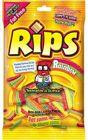 Rips Rainbow Bite Size Sugar Candy, 4 Ounce bag