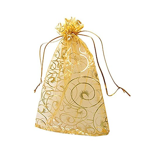 100pcs 3.9''x4.7'' Golden Champagne Eyelash Organza Drawstring Pouches Jewelry Party Wedding Favor Wedding Favor Gift Candy Bags by YYaaloa (3.9''x4.7'' Golden Champagne (Wedding Gift Favors)