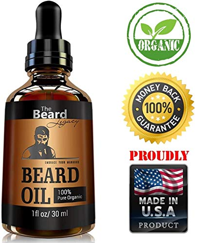 THE BEARD LEGACY Beard Oil Conditioner – All Natural Unscented Organic Argan & Jojoba Oils – Softens, Smooths & Strengthens Beard Growth – Grooming Beard and Mustache Maintenance Husband/Brother Gift.