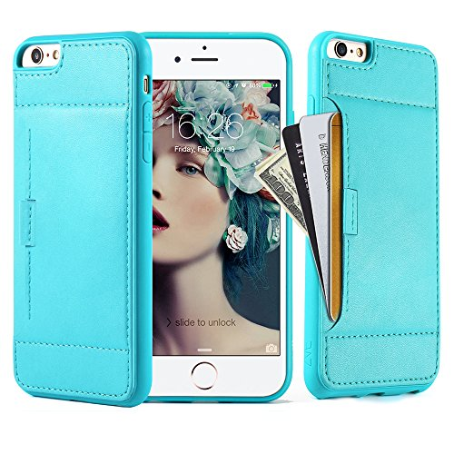 Price comparison product image Iphone 6 plus Wallet Case, ZVE apple iphone 6s plus leather wallet case Slim Protective cover, iphone 6s credit card holder case and carrying case for iphone 6/6s plus(5.5 inch)-Mint Green