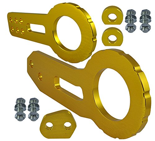 ICBEAMER Racing Style Anodized CNC Aluminum Tow Hook Kit Come with Front and Rear Tow Hook Screw [Color: Gold]