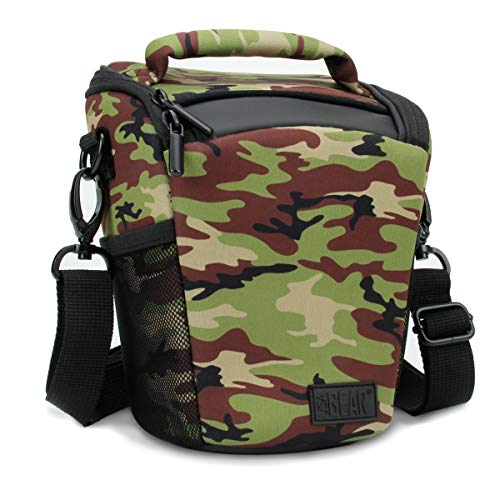 USA Gear SLR/DSLR Camera Case Bag with Top Loading Accessibility, Adjustable Shoulder Sling, Padded Handle, Removeable Rain Cover & Weather Resistant Bottom - Camo Green (Case Camouflage Camera)
