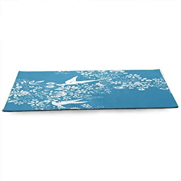 Amazon.com : Blue Eco Friendly Yoga Mat Ornamental Blooming ...