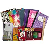 Palm Tree Back To School Bundle - 16 pcs (Folder - Notebook - Composition Book - Pencils - Colored Pencils - Magnetic Dry Erase Board - Sharpener - Ruler - Swirl Lollipop)