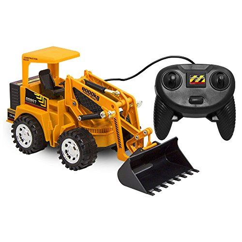 Kid Galaxy Remote Control Front Loader Vehicle. 6 Function Construction Toy (Cat Backhoe Tractor)