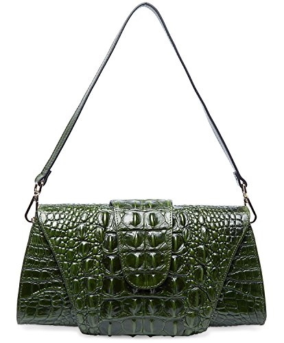 PIFUREN Crocodile Pattern Leather Tote Clutch with Shoulder Strap Womens Purses M1112 (One Size, Green) by PIFUREN