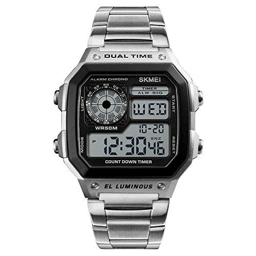 Bounabay Men's Multi-Function Stainless Steel Quartz Digital Watch-Silver