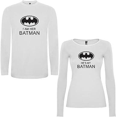 DALIM Pack de 2 Camisetas Blancas Manga Larga para Parejas Iam Her Batman y Hes my Batman Negro: Amazon.es: Ropa y accesorios