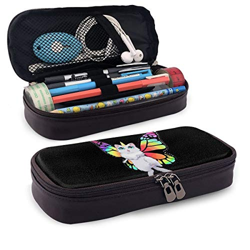 Ride On Cat Butterfly Cute Theme Cute Pen Pencil Case Leather 8 X 3.5 X 1.5 Inch Big Capacity Double Zippers Pencil Pouch Bag Pen Holder Box for School Office Girls Boys Adults