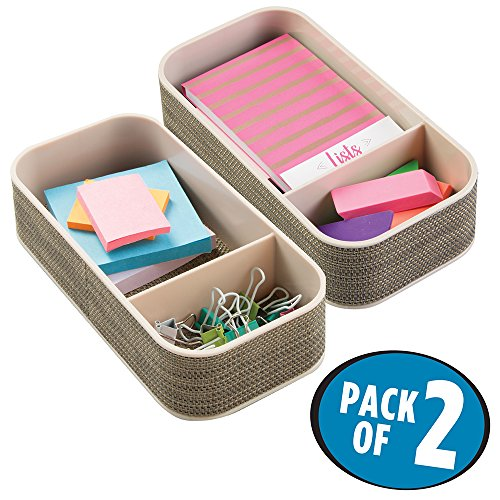 File Champagne (mDesign Office Supplies Desk Drawer Organizer for for Paper Clips, Sticky Notes, Tape - Pack of 2, 2 Sections, Pearl Champagne)