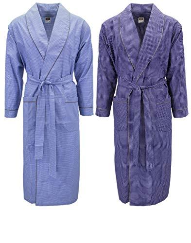 Mens 2 Pack Long Sleep Robe, Premium Cotton Blend Woven Lightweight Bathrobe (Large/XL, 2 PK-Assorted Plaids)