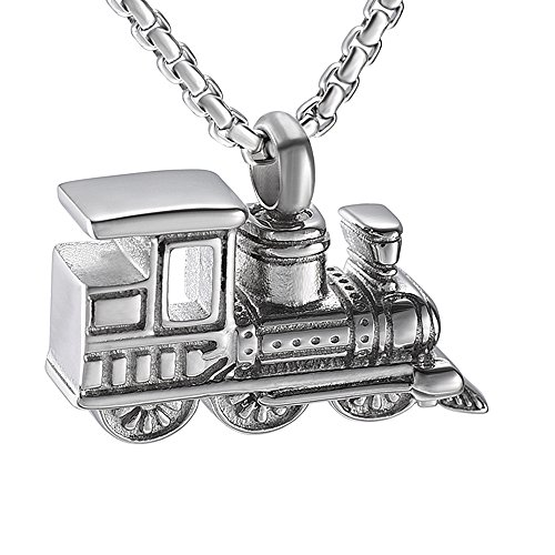 EternityMemory Personalized Mini Train Stainless Steel Cremation Jewelry for Human Ashes Keepsake Urn Necklace