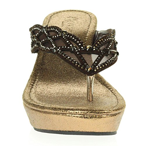 Größe Diamant Komfort Niedrige Kristall Damen LONDON Braun Frau Keilabsatz Schuhe Sandalen Schlüpfen Beiläufig Leicht AARZ xSaqUOwTn