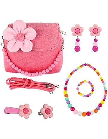 f6f9da0c1a53 CMK TRENDY KIDS Toddlers Dress Up Plush Flower Handbag Set with Jewelry Small  Purse for Little
