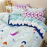 Sandyshow 3PC Mermaid Bedding For Girls Children Full/Queen Microfiber Duvet Cover Set