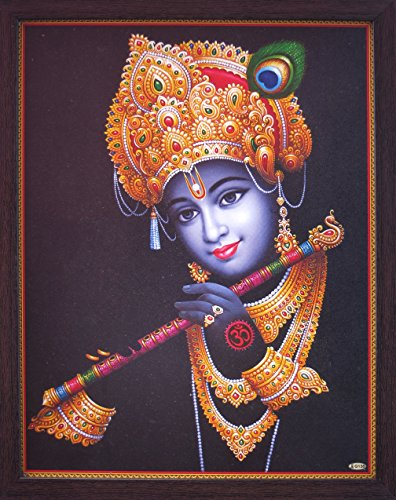 Handicraft Store Lord Krishna Playing with Decorative Flute, Wearing Ornaments and Beautiful Mukuat, a Religious & Elegant Posture with Frame, Must for Office/Home/Religious (Beautiful Images Of Lord Krishna And Radha)