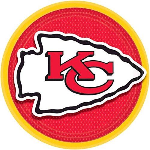 Amscan 552339 Kansas City Chiefs NFL Football Red Yellow Dinner plates, 9