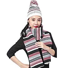 LerBen Women Girls Winter Warm Ski Slouch Beanie Hat Cap Scarf Set