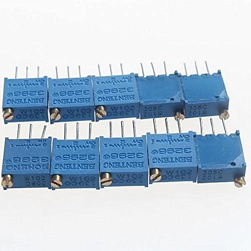 UXOXAS 3296 Potentiometer 1kohm Adjustable Resistors - Blue (10 PCS)