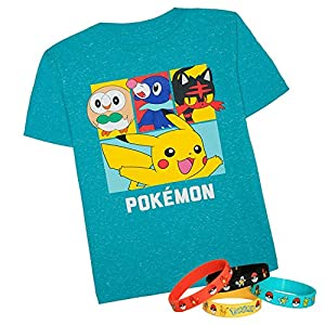Pokemon Pikachu Boys Cards Design T-Shirt Tee with 1 x Toys Bracelet (Small - Sz 8, Blue Sun/Moon)