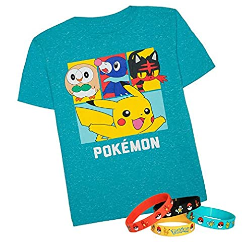 Pokemon Pikachu Boys Cards Design T-Shirt Tee with 1 x Toys Bracelet (XL - Sz 18-20, Blue Sun/Moon) (Full Face Character Hoodie)