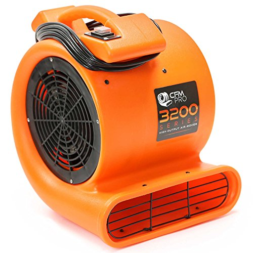 CFM Pro Air Mover Carpet Floor Dryer 2 Speed 1/2 HP Blower Fan - Orange Industrial Water Flood Damage Restoration ()