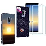 2 X Samsung Galaxy S9 Plus Case with 2 Pack Glass Screen Protector Phone Case Clear Soft TPU with Protective Bumper Cover Case for Samsung Galaxy S9 Plus