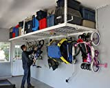 SafeRacks Overhead Garage Storage Combo Kit | Two 4 ft. x 8 ft. Racks (18''-33'') | 18pc Deluxe Hook Accessory Pack