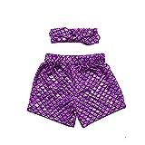 Coralup 2pcs Set Little Girls Mermaid Shorts Leggings & Headband(Purple,4-5Y)