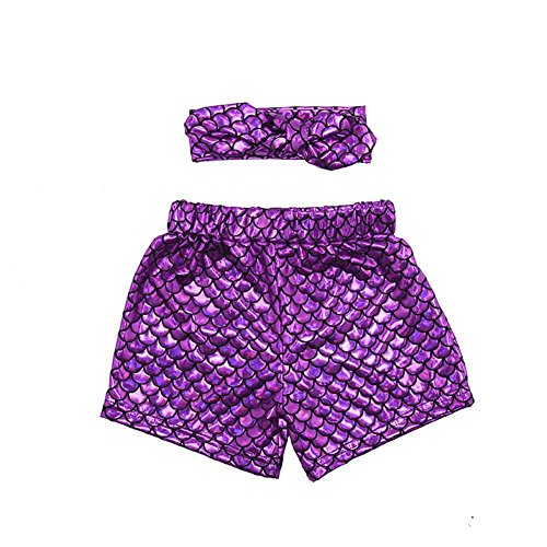 Coralup 2pcs Set Little Girls Mermaid Shorts Leggings & Headband(Purple,4-5Y) by Coralup