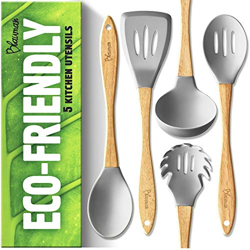 (New Wooden Kitchen Utensils Set - Silicone Cooking Spoons for Nonstick Cookware - Eco-friendly & No Odor)
