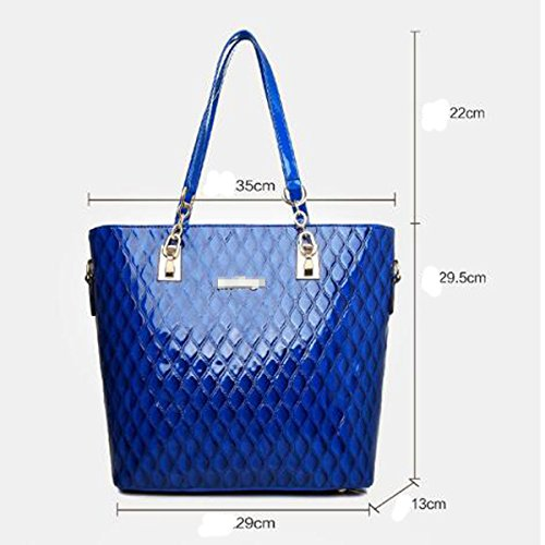 Set Red Bag Pieces Handbag Bag 6 Women Tote Top Bright Skin handle PqRvWw