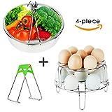 FULITY Steamer Basket Set for Instant Pot Accessories - Stainless Steel Vegetable Steamer Basket - Egg Steamer Rack Trivet - Pot Dish Clip - Fits 5,6,8 qt Pressure Cooker