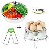 6 egg cooker - FULITY Steamer Basket Set for Instant Pot Accessories - Stainless Steel Vegetable Steamer Basket - Egg Steamer Rack Trivet - Pot Dish Clip - Fits 5,6,8 qt Pressure Cooker