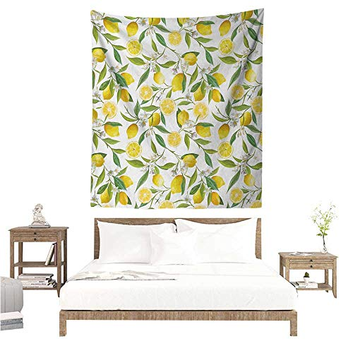 Nature Wall Tapestry for Bedroom Exotic Lemon Tree Branches Yummy Delicious Kitchen Gardening Design Living Room Background Decorative Painting 60W x 80L INCH Fern Green Yellow White ()