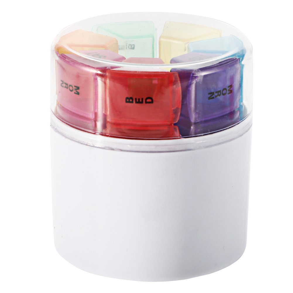 7 Days Pill Organizer Box, GSLL Medicine Remainder Round Small Pill Case 28 Compartments Rainbow Color