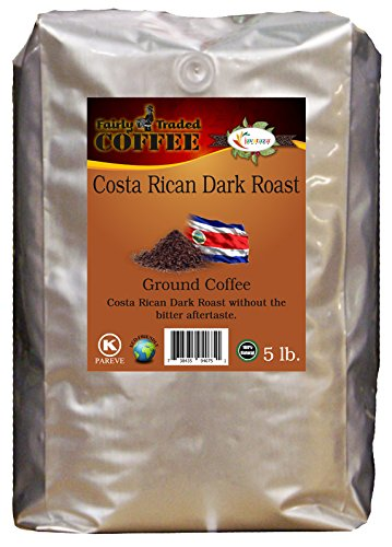 Costa Rican Drab Roast Whole Bean Coffee 5lb. - Fairly Traded, Naturally Shade Grown, Kosher Certified