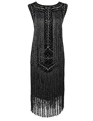 Kayamiya Women's Flapper Dress 1920s Sequined Tassel Great Gatsby Dress