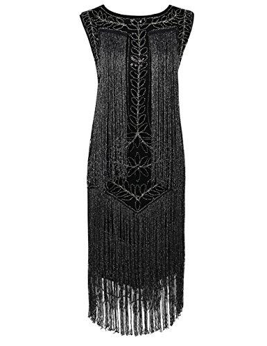 Kayamiya Women's Flapper Dress 1920s Sequined Tassel Great Gatsby Dress XL Black Silver