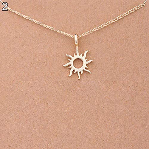 Necklace Opeof Fashion Women Compass Sun Leaves Pendant Golden Clavicle Chain Choker Necklace - Sun (For Necklaces 2 Dollars)