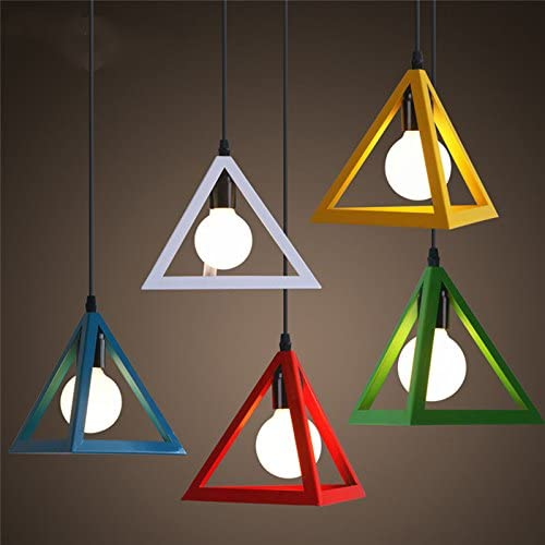 Ting-w Set of Moden Colorful Metal Triangle Pendant Light Chandelier Ceiling lamp Dining Light Multi-Colored