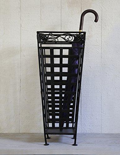 Metal Umbrella Stand Canes Walking Stick Holder Storage Rack in Black Cage Design Furniture 13 x 13 x 28.5 Inches