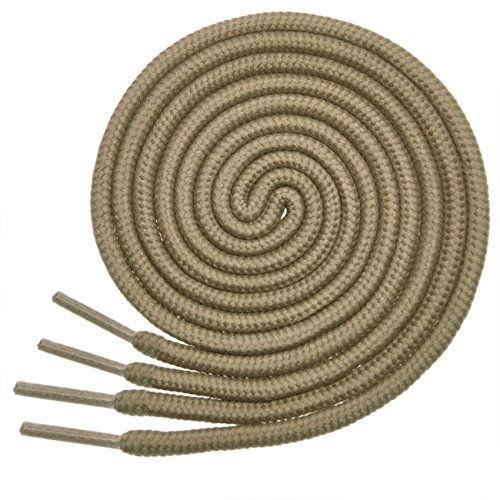 Sneakers Shoes Suede Tan - BIRCH's Round Shoelaces 27 Colors 3/16