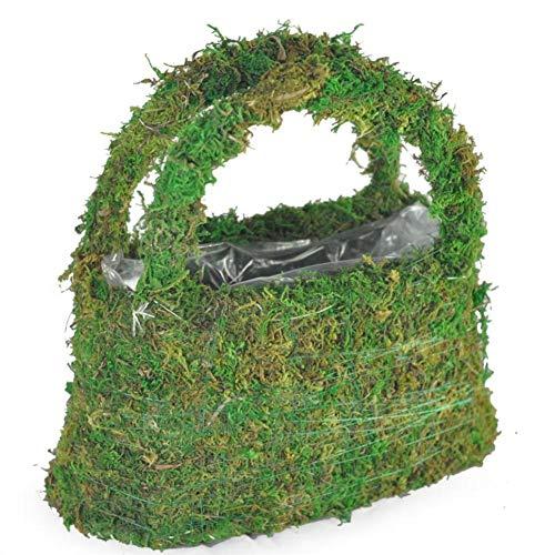 (whenear Artificial Moss Handbag Garden Basket Hand-Woven Green Flower Basket Wedding Accessory for Women Outdoor Planters Flower)