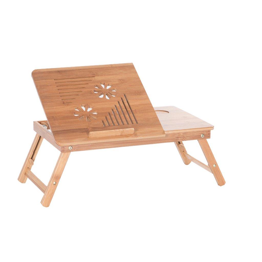 TMY Portable Bambus Faltbare Laptop Schreibtisch Notebook Bett Tisch Faltbare Tisch Höhenverstellbar mit Schublade (Größe : A-64  35  23CM)