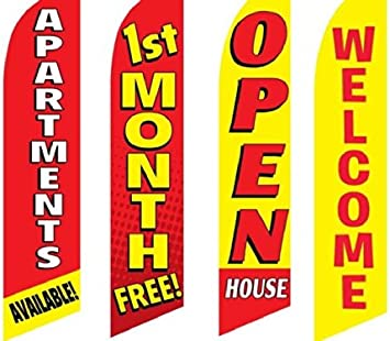 4 Swooper Flags /& Pole Kits Apartment Rent 1st Month Free Welcome 1 2 3 Bedroom