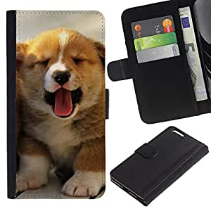 Be Good Phone Accessory // Caso del tirón Billetera de Cuero Titular de la tarjeta Carcasa Funda de Protección para Apple Iphone 6 PLUS 5.5 // Puppy Yawn Tongue Australian Shepherd